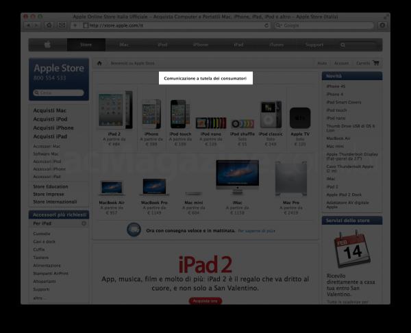 Comunicado da Apple Online Store italiana