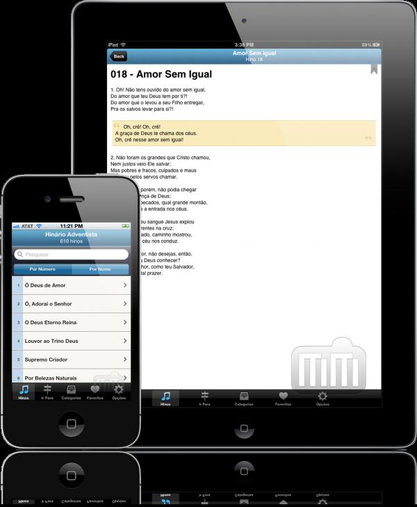 Apps Cantor Cristão e O Hinário Adventista no iPad e iPhone