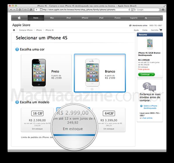 Estoque do iPhone 4S