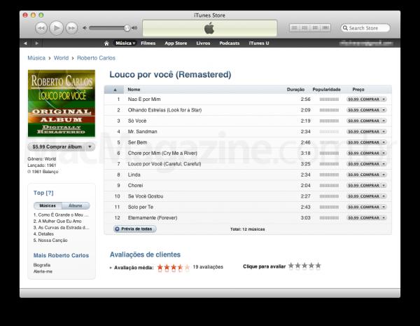 Louco por Você - Roberto Carlos, na iTunes Store