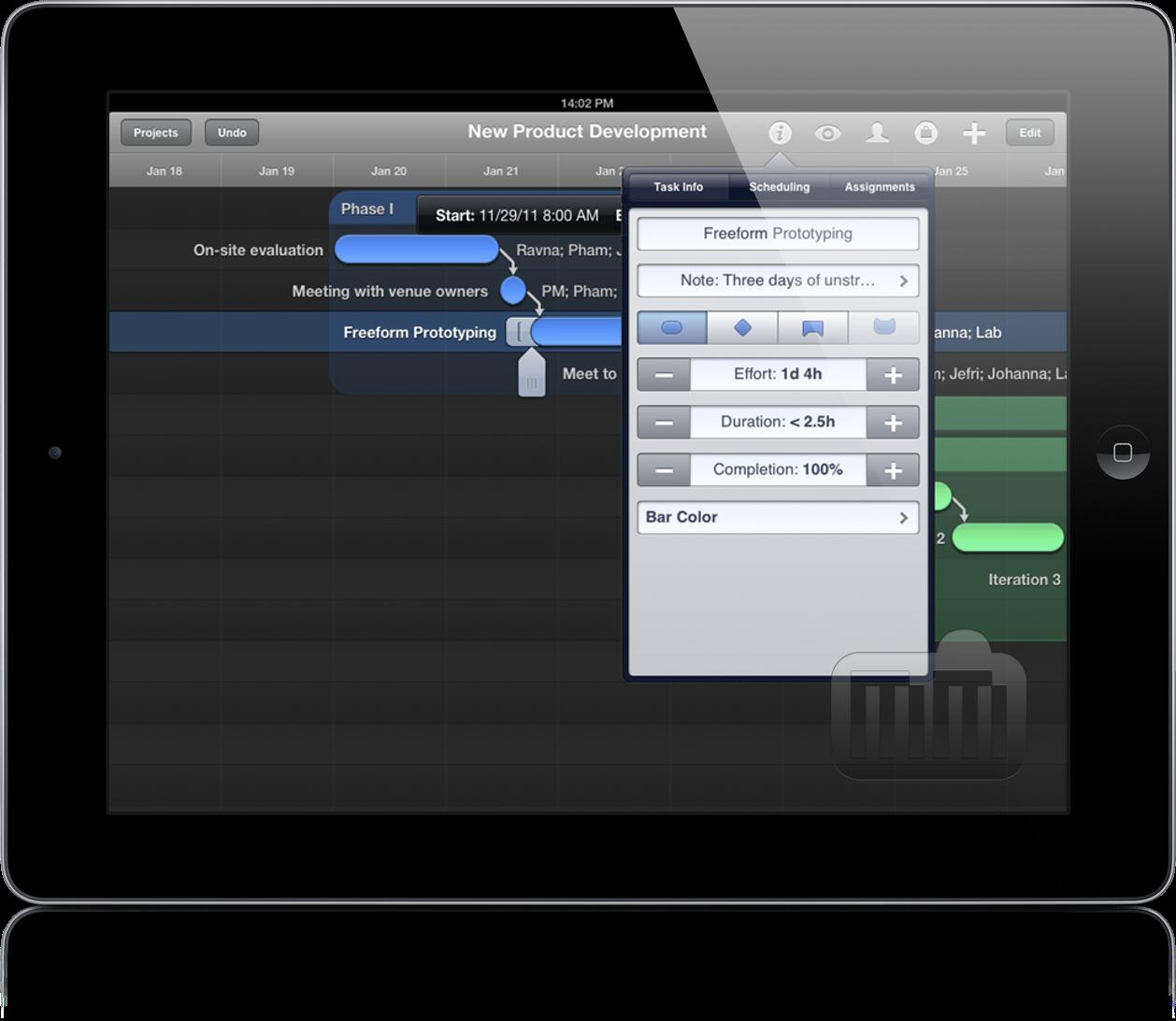 Preview do OmniPlan para iPad