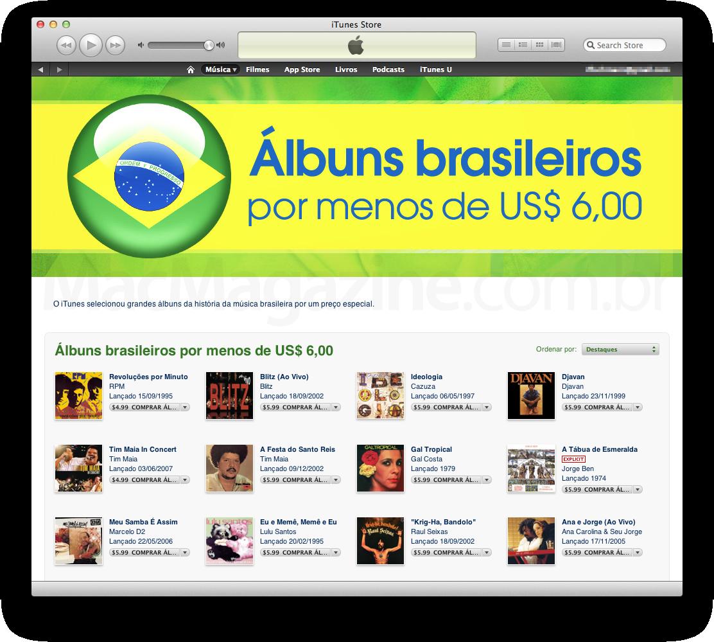 Álbuns na iTunes por menos de 6 dólares