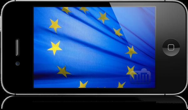 Bandeira da União Europeia dentro de um iPhone 4S