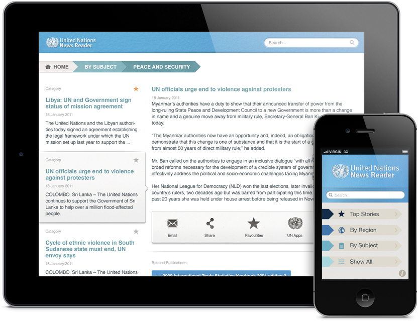 UN News Reader no iPad e iPhone