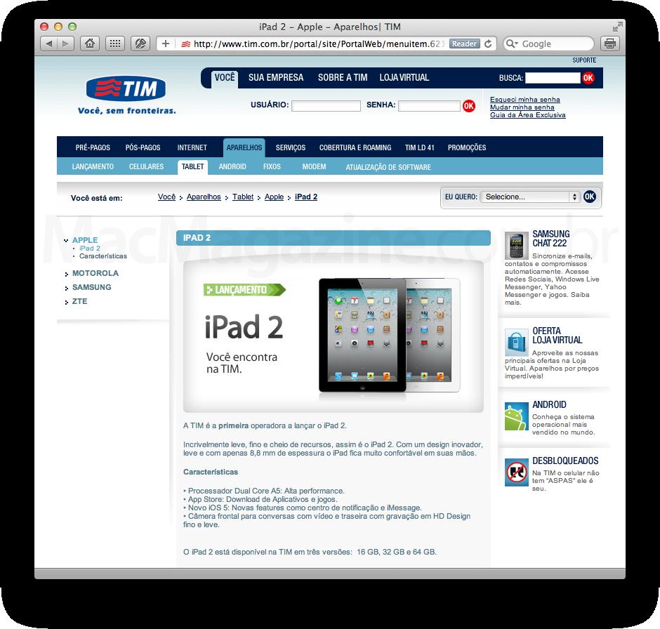 iPads na TIM