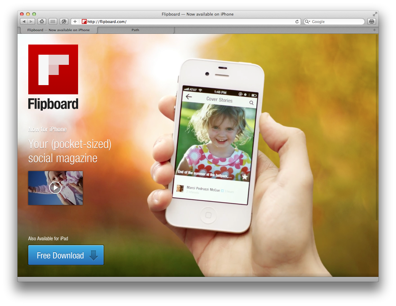 Site do Flipboard no Safari