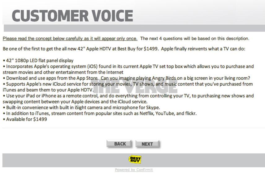 Questionário da Best Buy sobre iTV