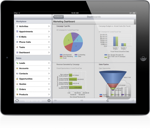 Microsoft Dynamics CRM Mobile para iPad