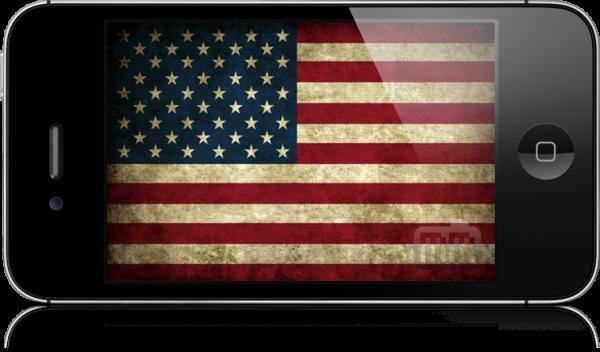Bandeira dos EUA dentro do iPhone 4S