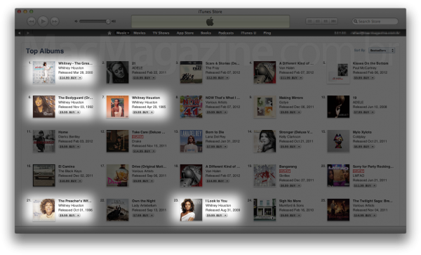 Whitney Houston na iTunes Store