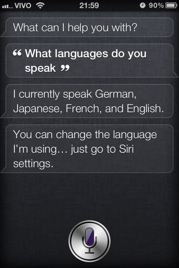 Siri falando japonês?