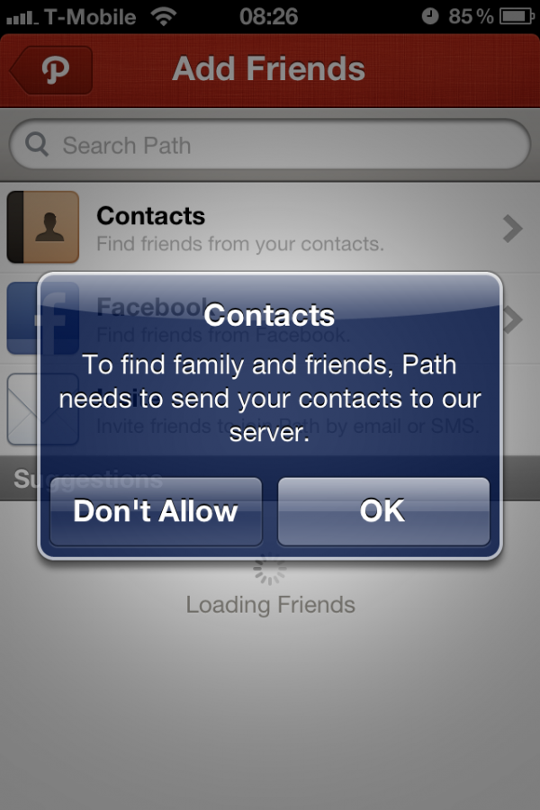 Path perguntando por uso de contatos