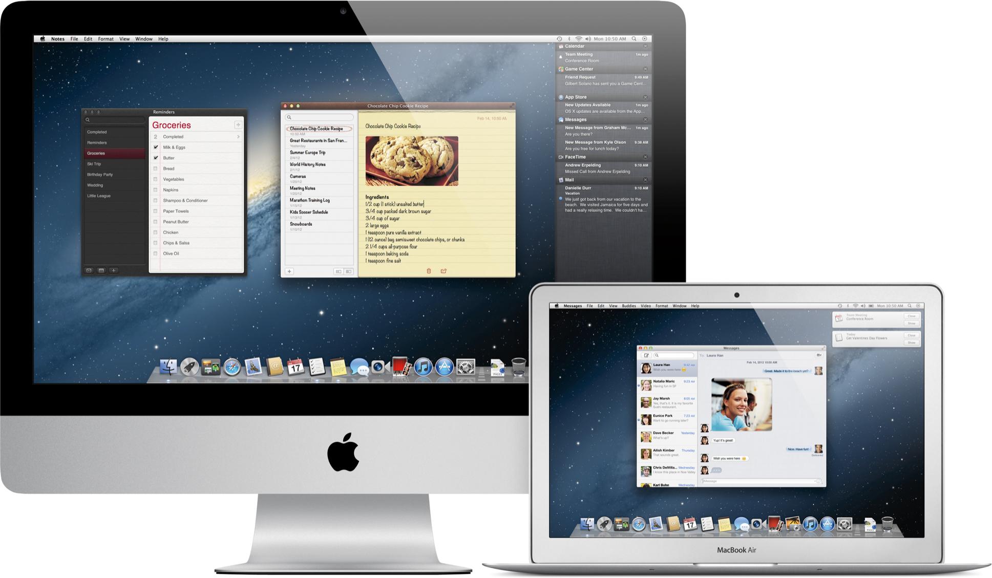 iMac e MacBook Air com o OS X Mountain Lion