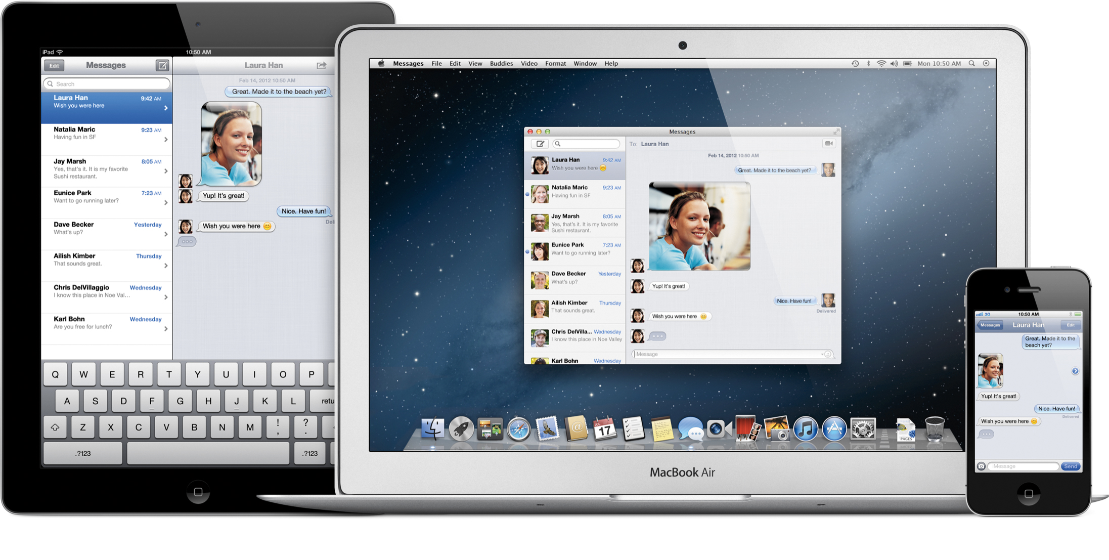 Messages no iPad, iPhone e MacBook Air com o OS X Mountain Lion