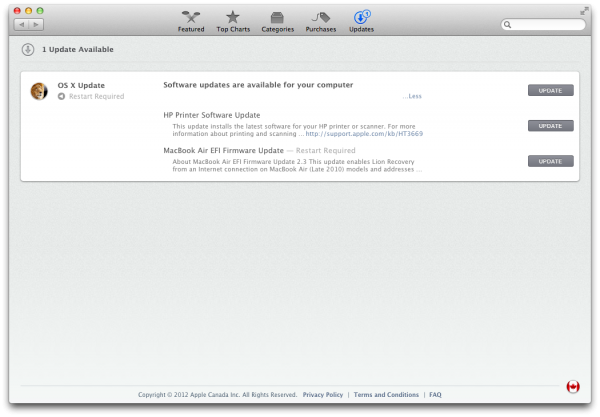 Software Update no OS X Mountain Lion
