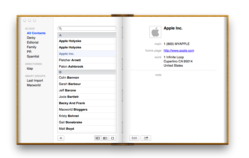 Contatos - OS X Mountain Lion