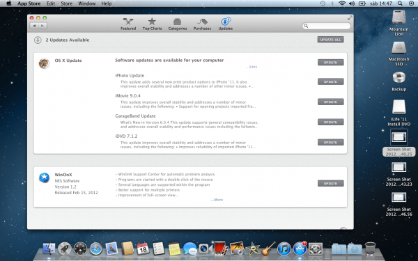 Atualização de Software na Mac App Store