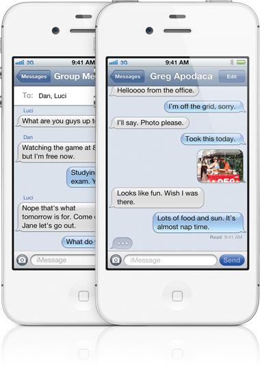 iMessage em iPhone 4S branco