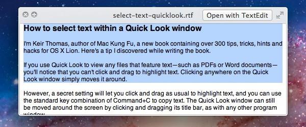 Selecionando texto no Quick Look