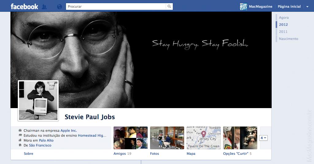 Timeline de Steve Jobs no Facebook