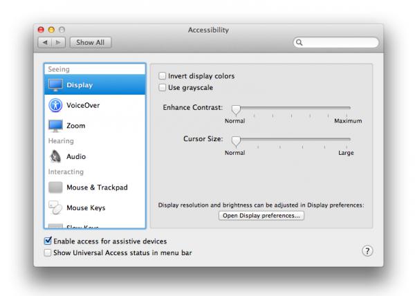Acessibilidade - OS X Mountain Lion
