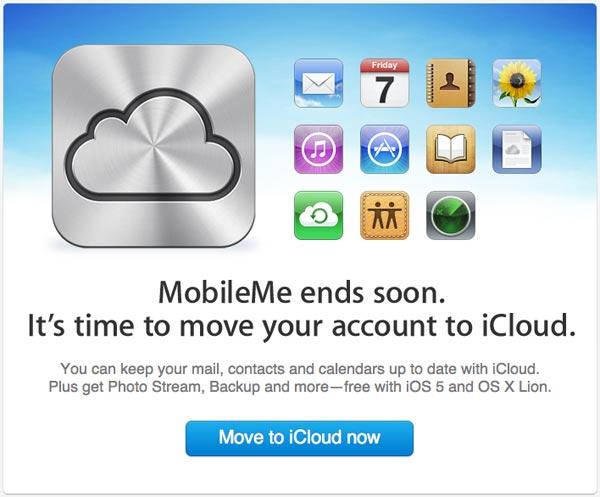 Aviso da Apple para que pessoas migrem logo do MobileMe para o iCloud