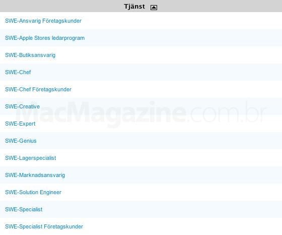 Lista de empregos da Apple na Suécia