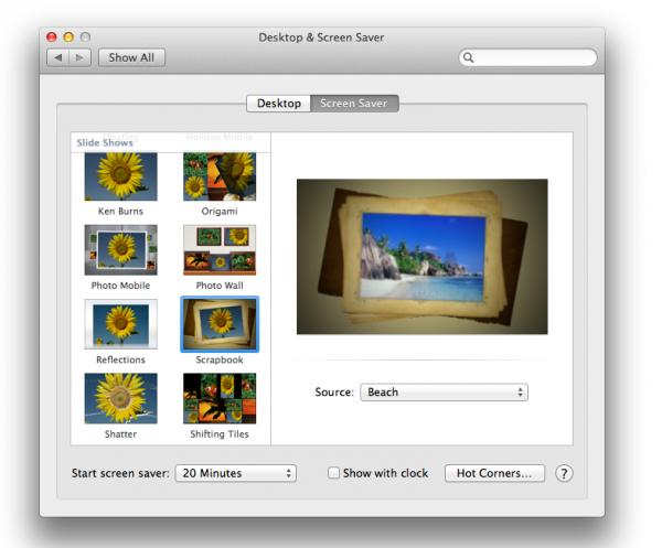 Proteção de tela - OS X Mountain Lion
