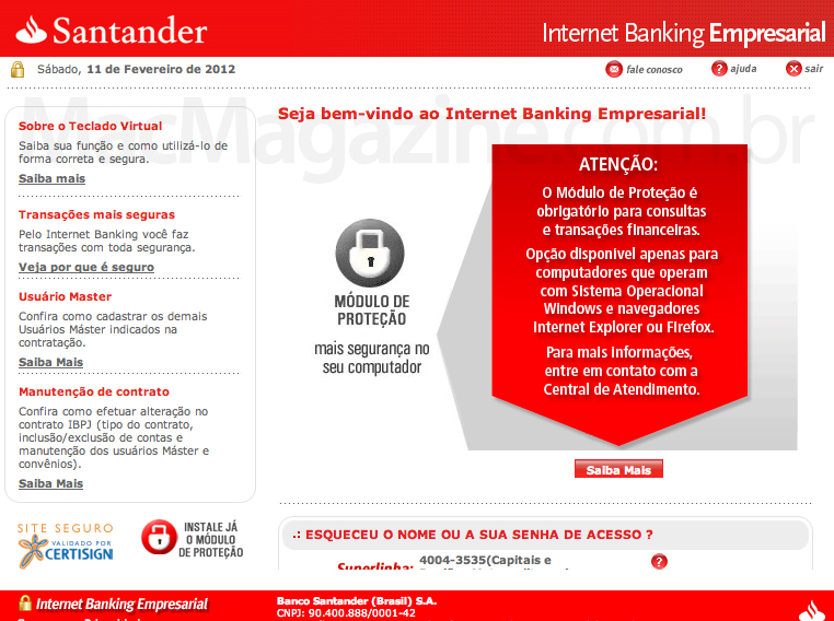 Santander incompatível com Mac