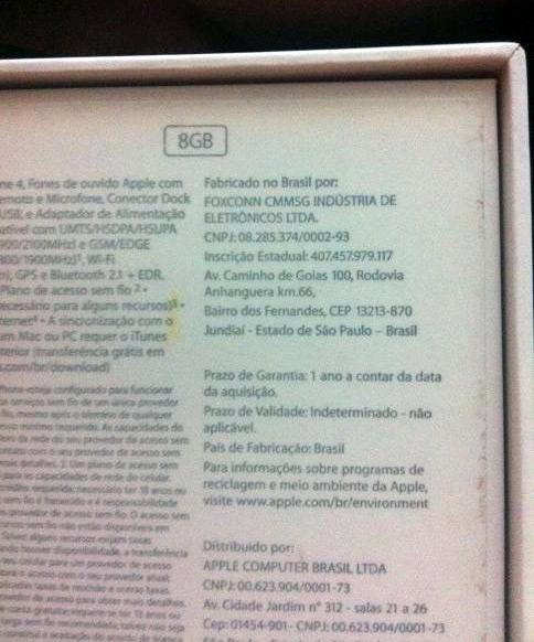 Caixa de iPhone 4 brasileiro