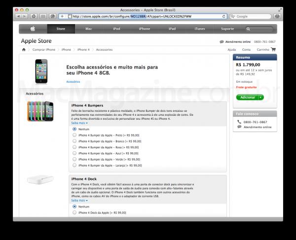 Part number de iPhone 4 vendido pela Apple