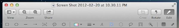 Barra de ferramentas do Preview no OS X Mountain Lion