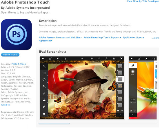 Adobe Photoshop Touch no iTunes Preview
