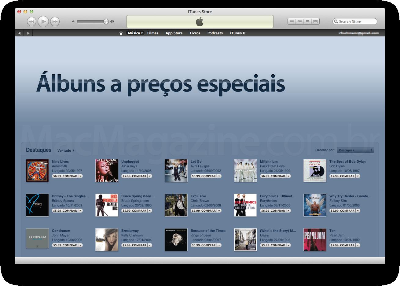Álbuns a preços especiais - iTunes Store