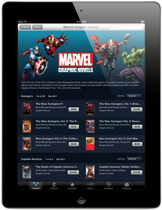 Graphic novels da Marvel na iBookstore do iPad