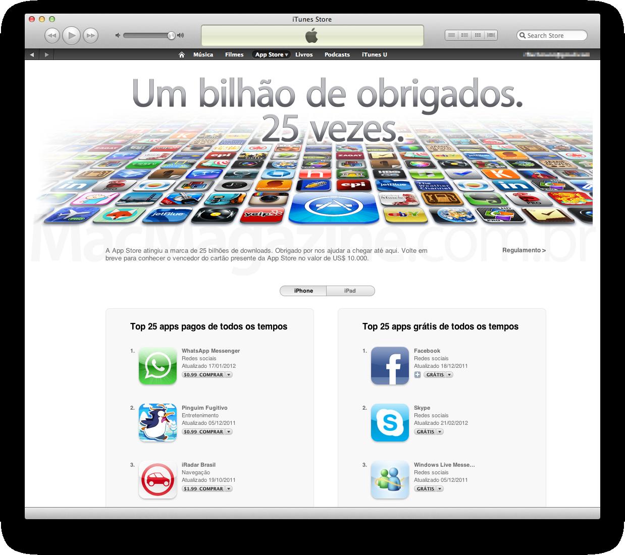 Apps mais baixados - 25 bilhões