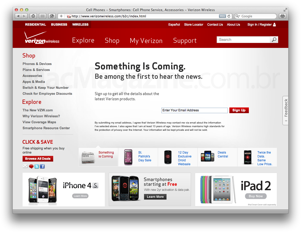 Teaser do novo iPad no site da Verizon Wireless?