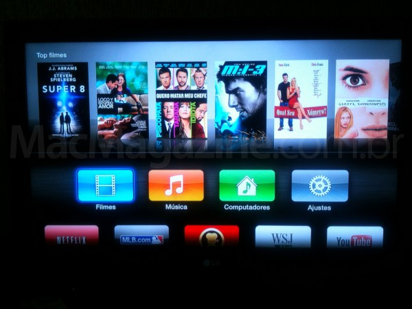 Apple TV atual com o novo software