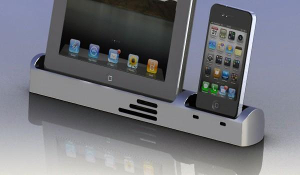 Billet Dock com iPad e iPhone