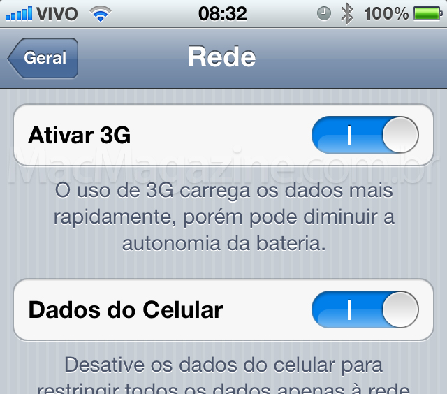 Desabilitar 3G no iPhone 4S