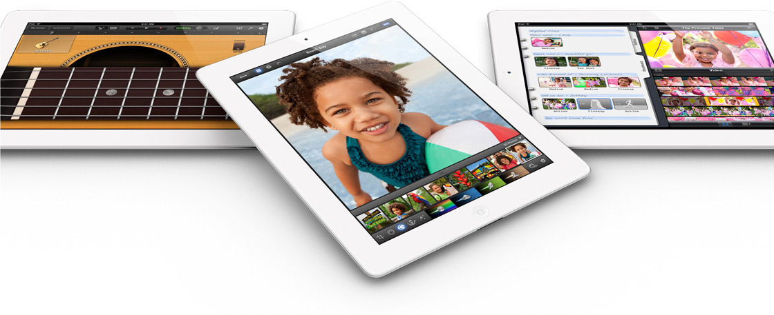 Novos iPads vistos de cima, com apps