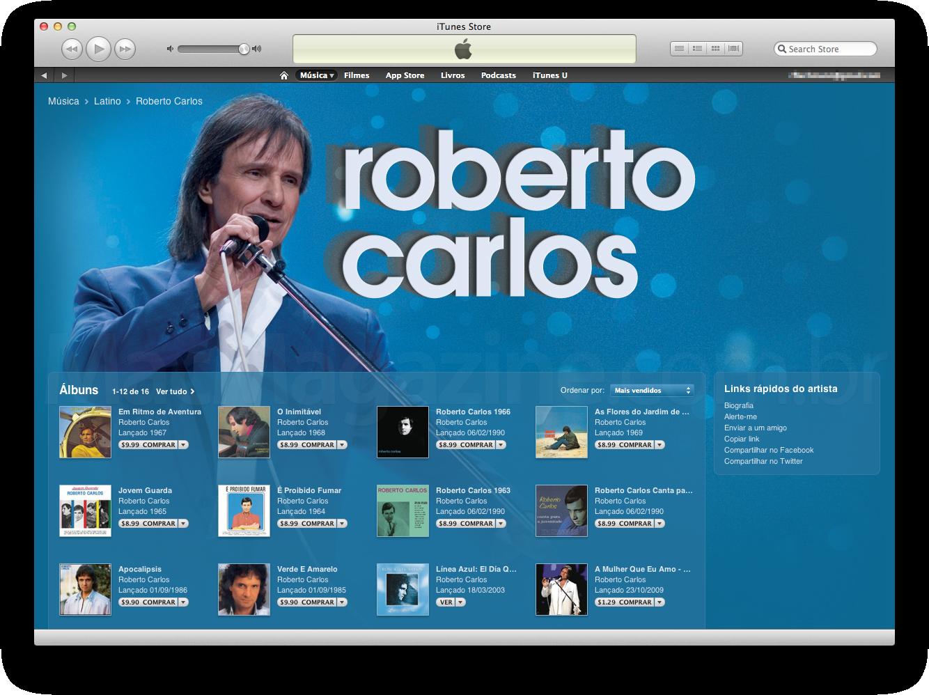 Roberto Carlos na iTunes Store