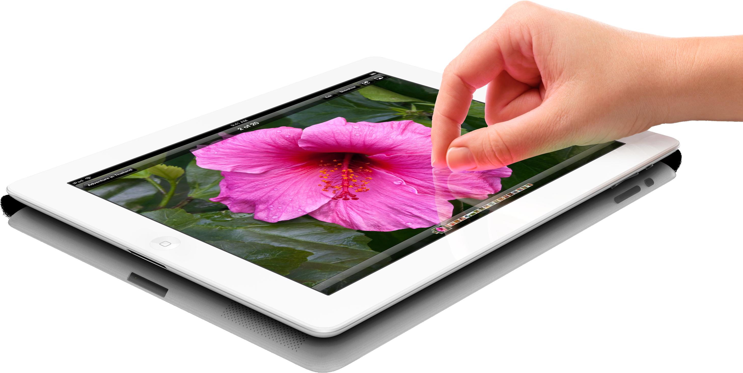 iPad de lado com mão