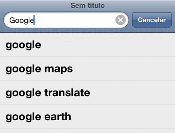 Google no Mobile Safari