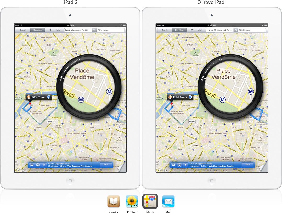 Página brasileira do iPad promovendo o Google Maps