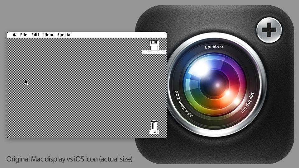 Tela e ícone - pixels