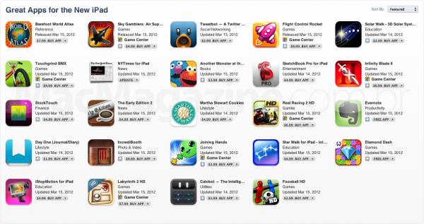 Apps preparados para a tela Retina do novo iPad - App Store