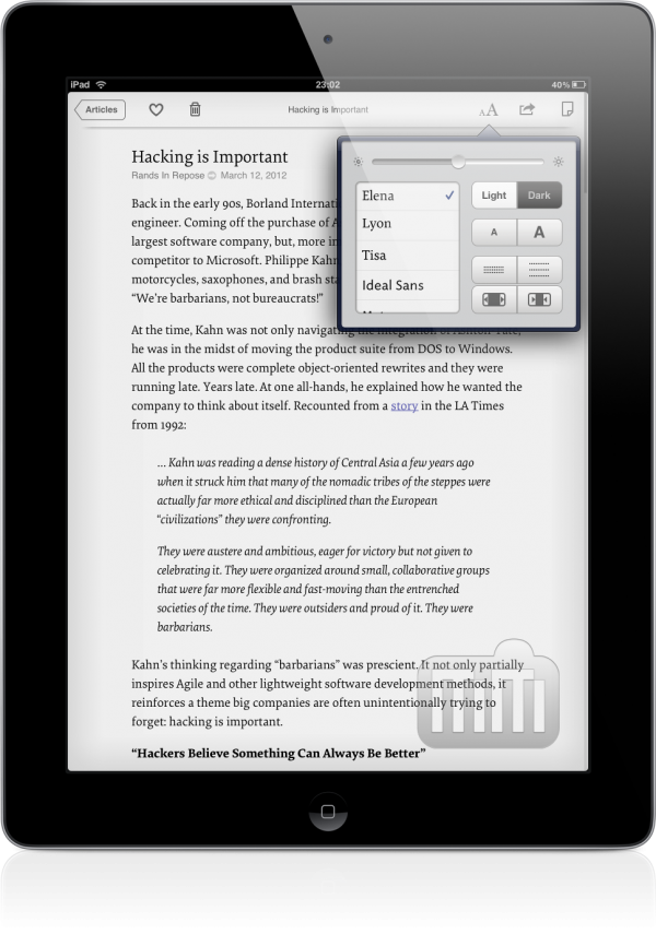 Instapaper 4.1 em um iPad
