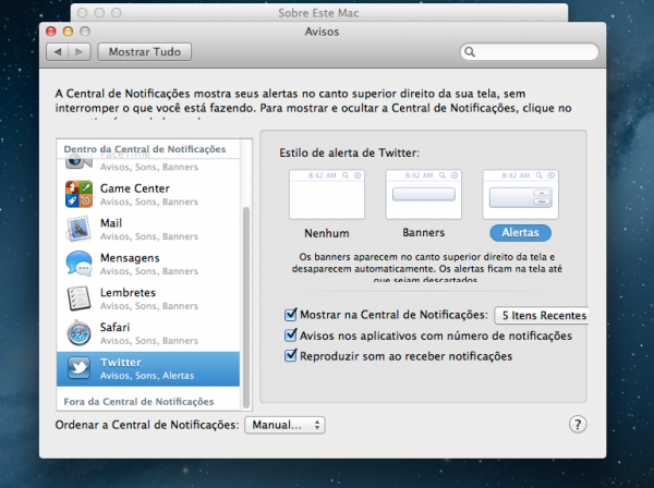 OS X Mountain Lion - Notificações