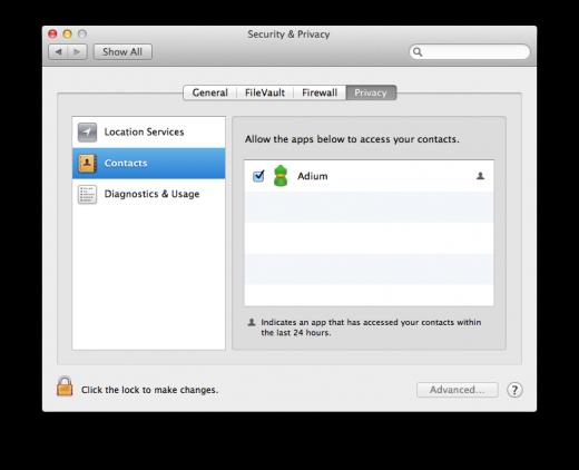 OS X Mountain Lion - Privacidade